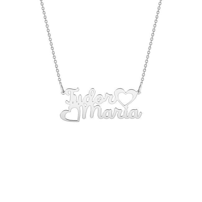 Colier Argint 925 doua nume si inimioare decupate