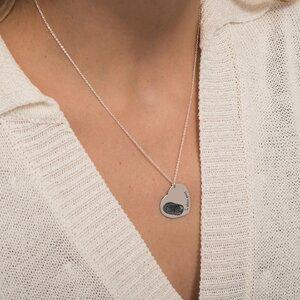 Colier Argint placat cu aur inima 24 mm personalizata gravura amprenta