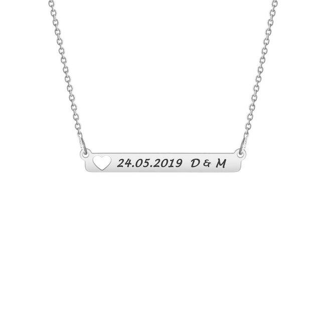 Colier Argint 925, placuta fixa inima decupata, personalizat (32 mm)
