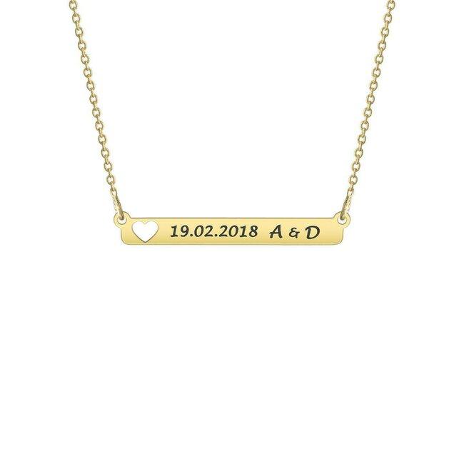 Colier Argint 925 placat cu aur, placuta fixa inima decupata, personalizat (32 mm)