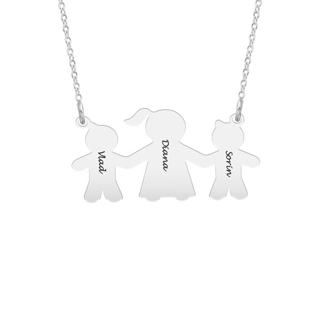 Colier Argint, baieteii lui mami, personalizat (27 mm)