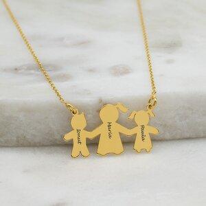 Colier Argint, baietelul si fetita lui mami, personalizat (27 mm)