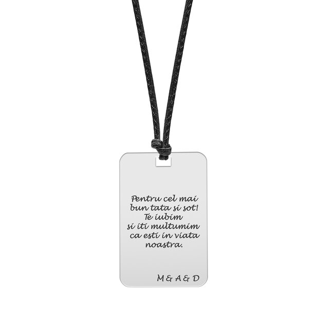 Colier Argint barbat, piele si placuta 30 mm, personalizat