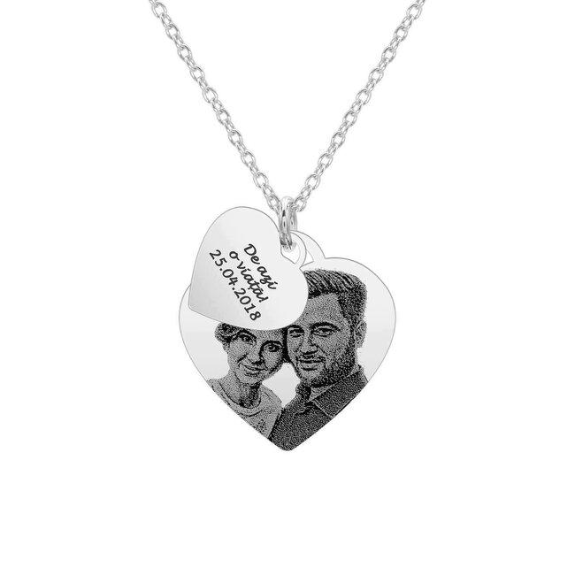 Colier argint placat cu aur doua inimi personalizat foto (20 & 12 mm)