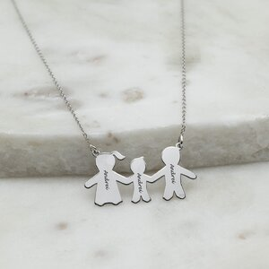 Colier Argint, familia mea, baietel, personalizat (27 mm)