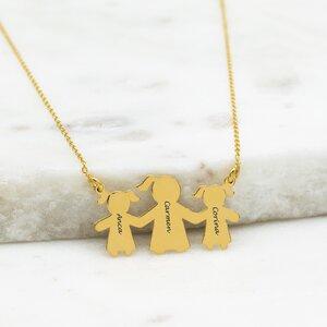 Colier Argint, fetitele lui mami, personalizat (27 mm)