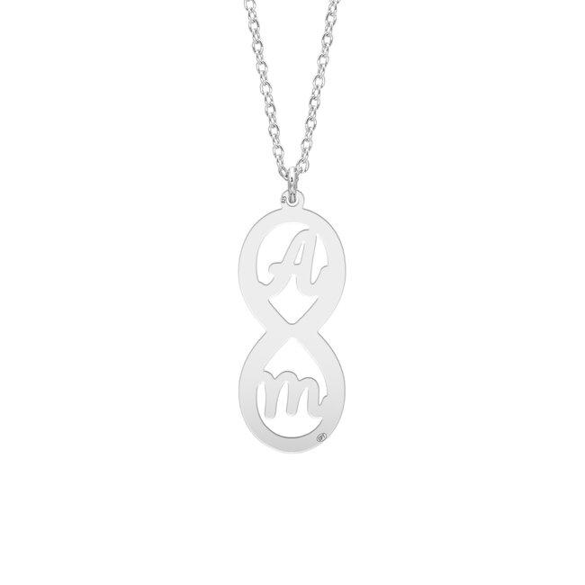 Colier Argint, infinit cu doua initiale