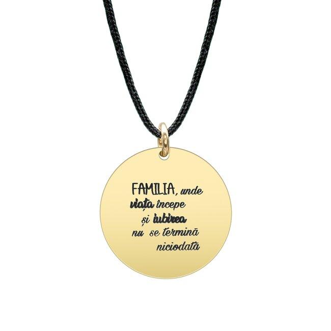 Colier Argint barbat placat cu aur galben, snur si banut 22 mm, personalizat editie Paste