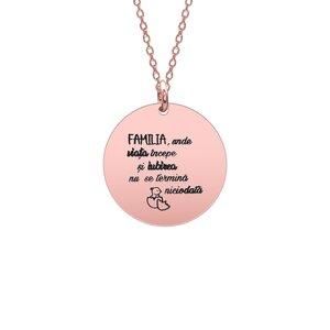 Colier Argint dama placat cu aur roz, banut 19 mm, personalizat editie Paste