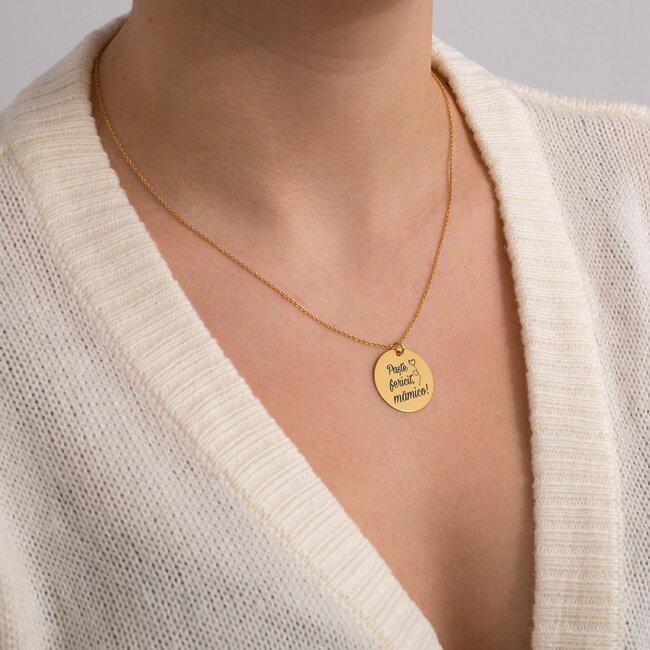 Colier Argint dama placat cu aur roz, banut 19 mm, personalizat