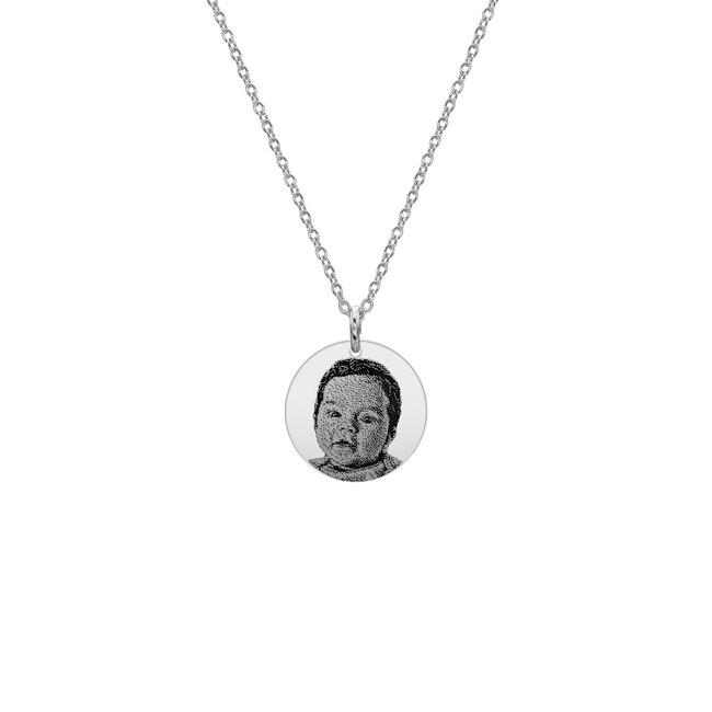 Colier banut 10 mm personalizat gravura foto Argint 925 rodiat (chipul bebelusului)
