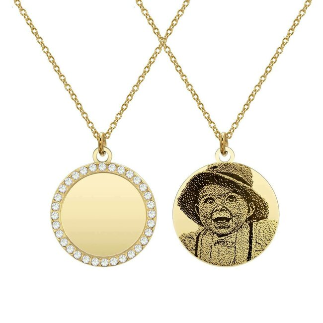 Colier banut 16 mm cu pietricele personalizat gravura foto Argint 925 placat cu aur