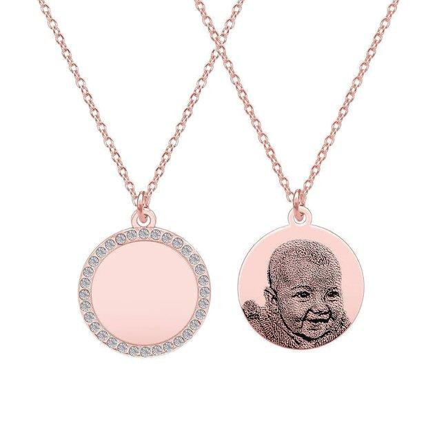 Colier banut 16 mm cu pietricele personalizat gravura foto Argint 925 placat cu aur roz