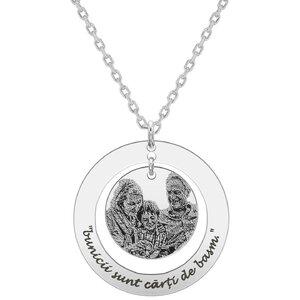 Colier Argint 925 banut in cerc 28 mm personalizat gravura foto (lant Cable)
