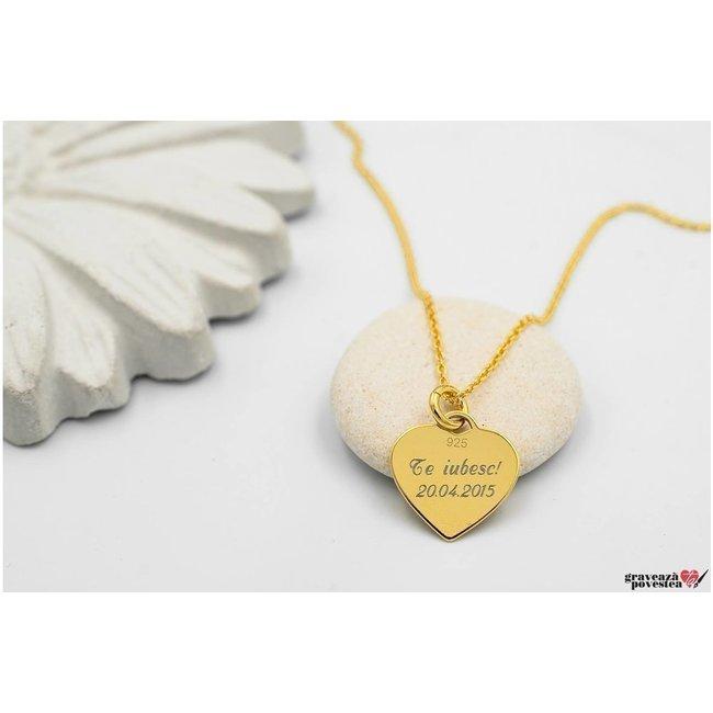 Colier Argint placat cu aur inima 12 mm personalizata gravura text