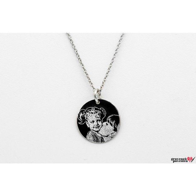 Colier Argint 925 banut 14.5 mm personalizat gravura foto
