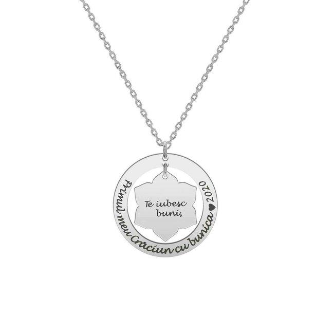 Colier Craciunita in cerc 28 mm personalizat gravura text Argint 925 rodiat (lant Cable)