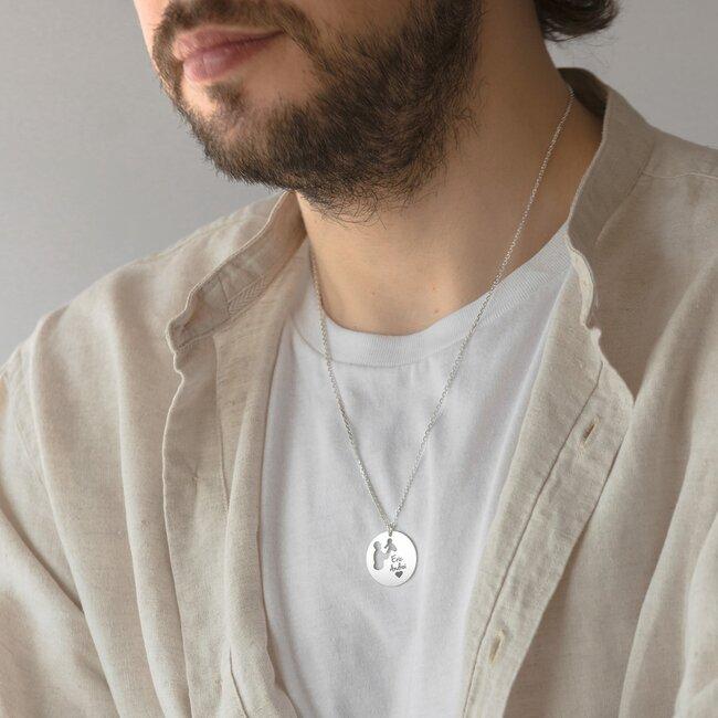 Colier Argint barbat, banut 22 mm, decupat tata si copil, personalizat