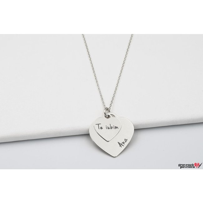 Colier doua inimi 20 mm & 12 mm personalizate gravura text Argint 925 rodiat