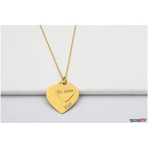 Colier Argint placat cu aur doua inimi 20 mm & 12 mm personalizate gravura text