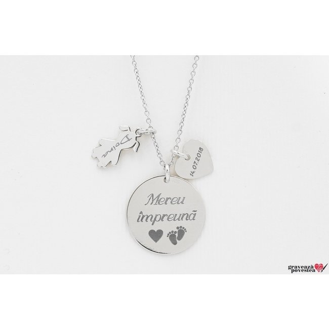 Colier Argint 925 pentru mama banut 19 mm personalizat gravura text (1 copil)