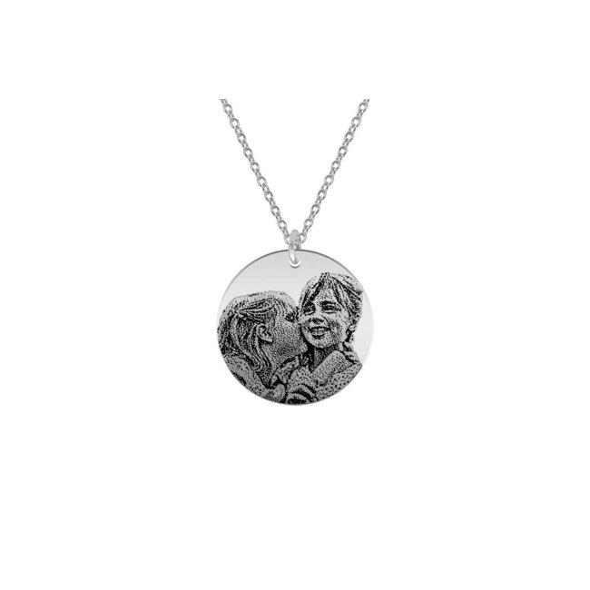 Colier Argint 925 lantisor lung banut 22 mm personalizat gravura foto