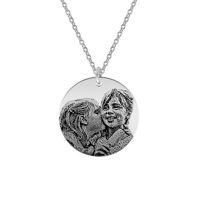 Colier Argint 925 lantisor lung banut 22 mm personalizat gravura cu poza