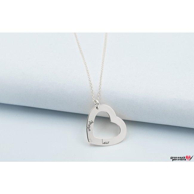 Colier forma inima 22 mm personalizata gravura text Argint 925 rodiat