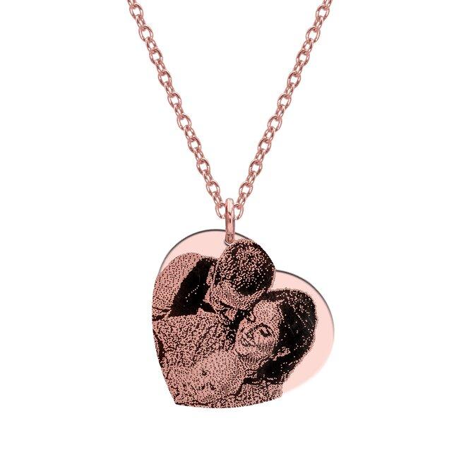 Colier Argint placat cu aur inima 24 mm personalizata gravura foto