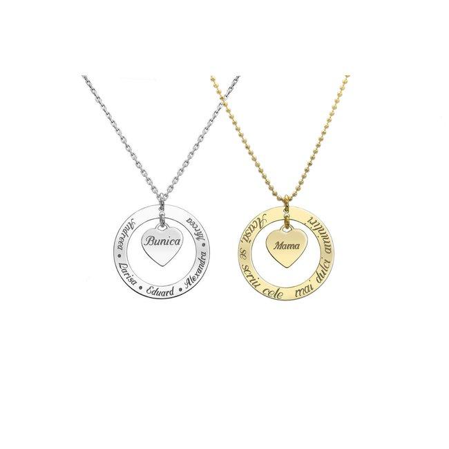 Colier inimioara 12 mm si cerc 28 mm personalizate gravura text Argint 925 rodiat (lant Cable sau Beads)