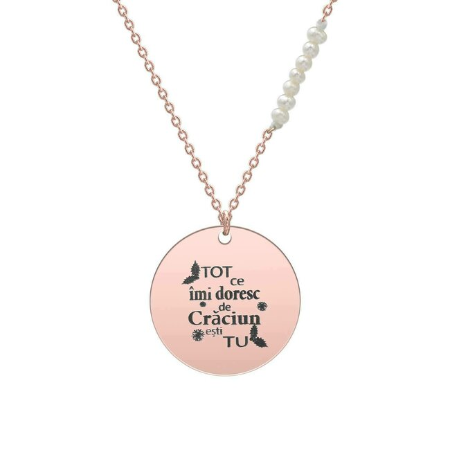 Colier lant cu perle albe si banut 17 mm personalizat gravura text Argint 925 placat cu aur roz 18K