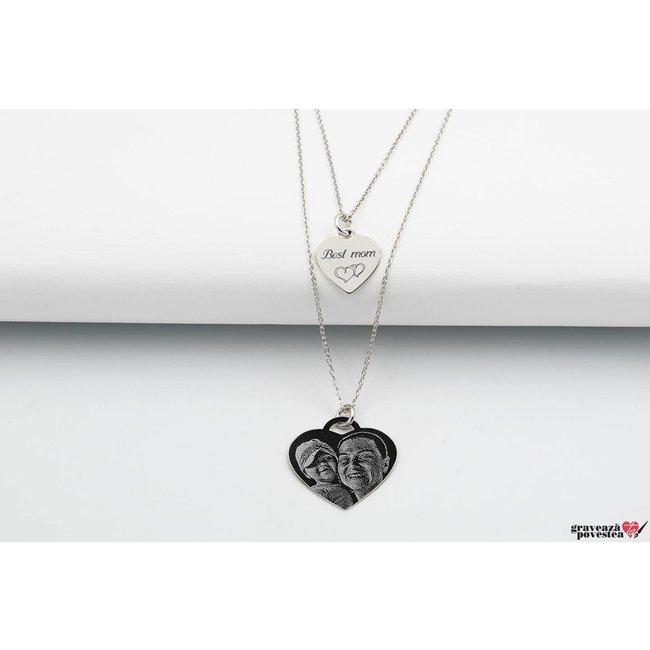 Colier Argint 925 lantisor dublu inima 20 mm & 12 mm personalizat gravura foto