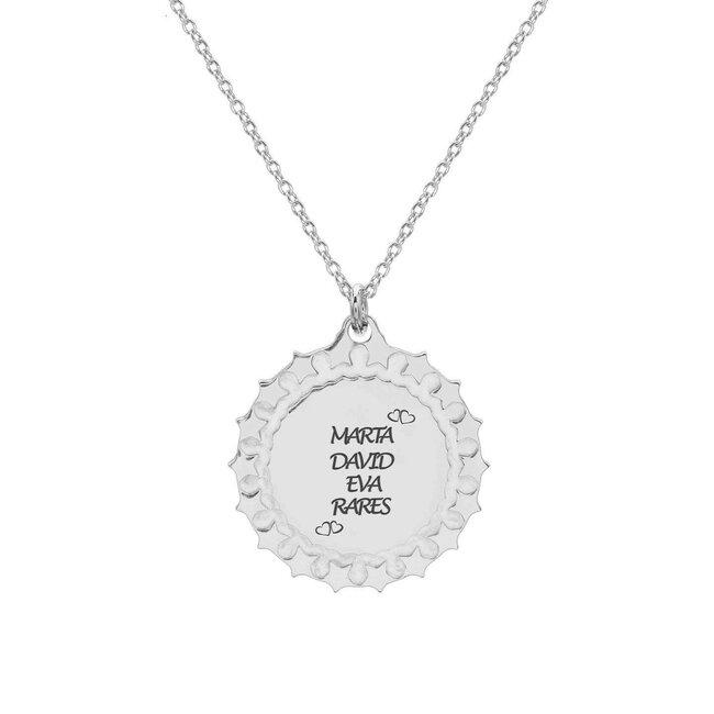 Colier banut masiv 19 mm personalizat gravura text Argint 925 rodiat