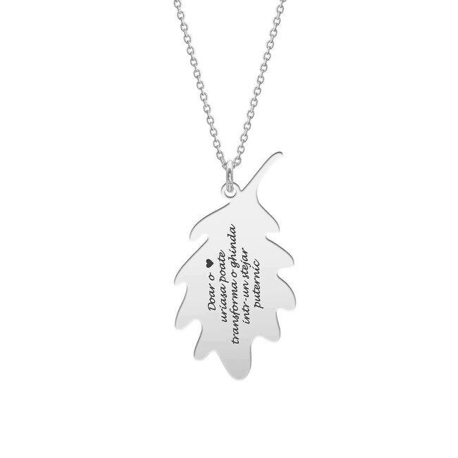 Colier martisor lant frunza stejar argint cu text predefinit