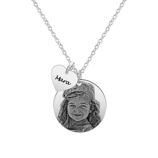 Colier Argint 925 banut 22 mm copilasul mamei personalizat gravura foto (baietel/ fetita)