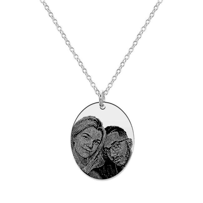 Colier Argint 925 oval 21 mm personalizat gravura foto
