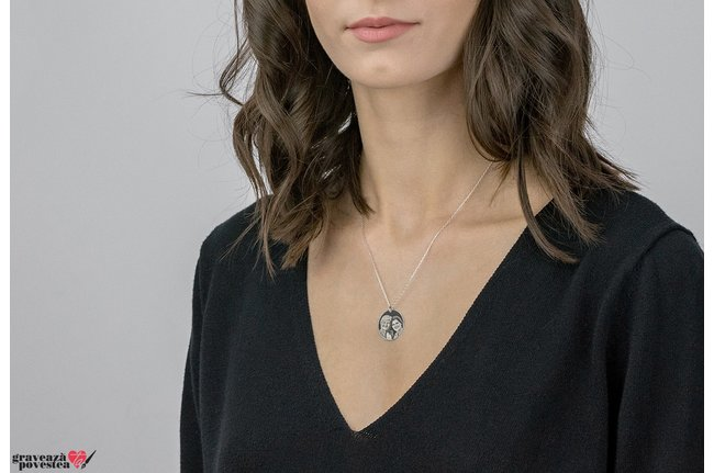 Colier oval 21 mm personalizat gravura foto Argint 925 rodiat