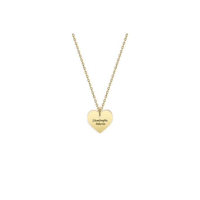 Colier Aur 14K pentru copii inima 11 mm personalizata gravura text (2-14 ani)