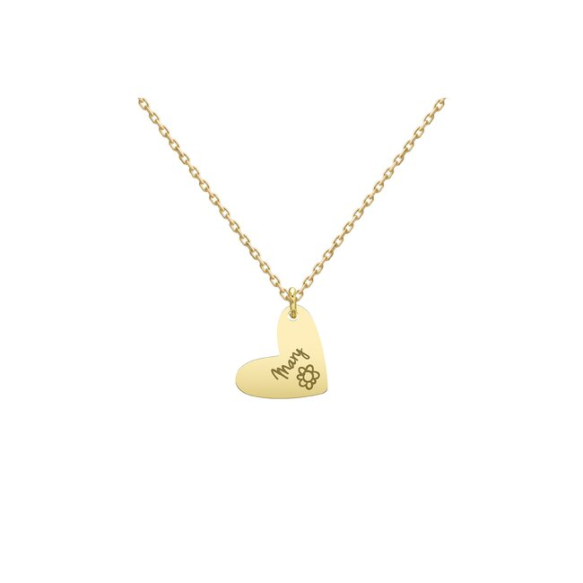 Colier Aur 14K pentru copii inima 13 mm personalizat gravura text (2-14 ani)