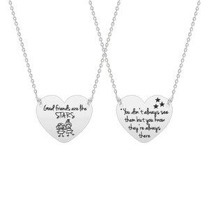 Colier Argint 925 pentru prietene inima 20 mm personalizata text predefinit