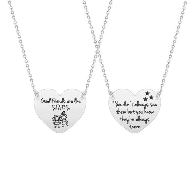 Colier pentru prietene inima 22 mm personalizata text predefinit Argint 925 rodiat