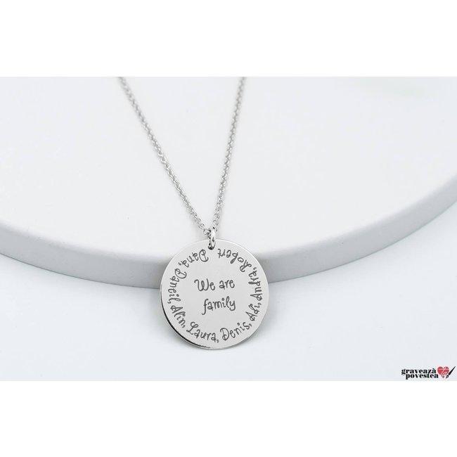 Colier banut familie 22 mm personalizat gravura text Argint 925 rodiat