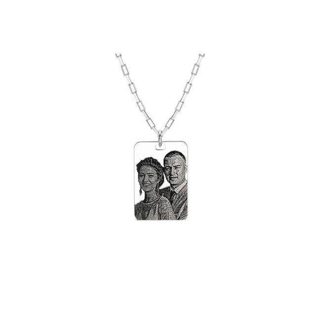 Colier placuta 30 mm personalizat gravura foto Argint 925 rodiat (lant Paper Link)