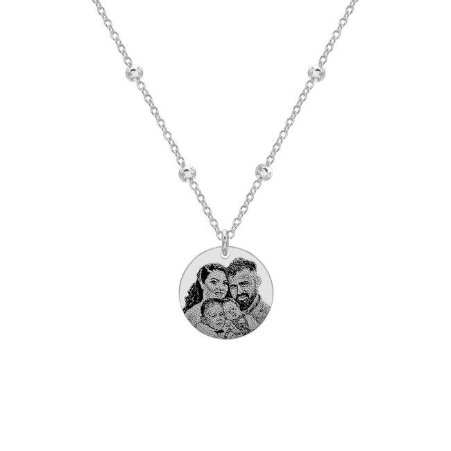 Colier lantisor bilute banut 17 mm personalizat gravura foto Argint 925 rodiat