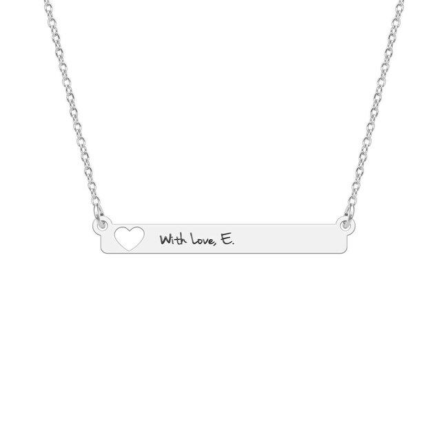 Colier placuta fixa inima decupata 32 mm personalizata gravura text Argint 925 rodiat