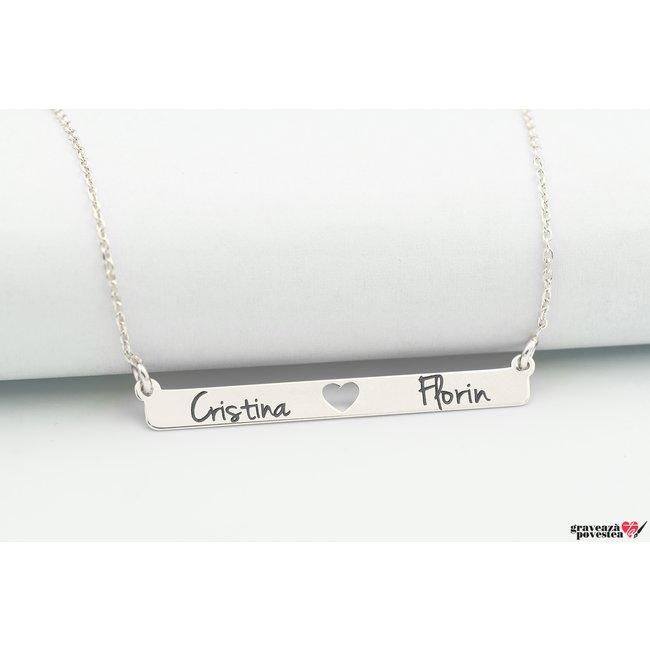 Colier placuta fixa inima decupata 38 mm personalizata gravura text Argint 925 rodiat
