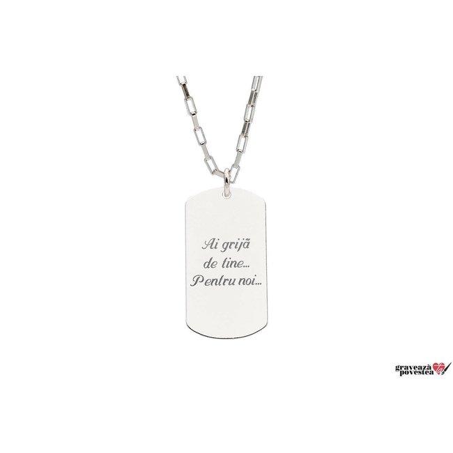 Colier Argint 925 placuta Army 28 mm personalizata gravura text (lant Paper Link)