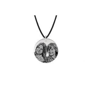 Colier Argint barbat, piele subtire, banut 22 mm personalizat gravura foto