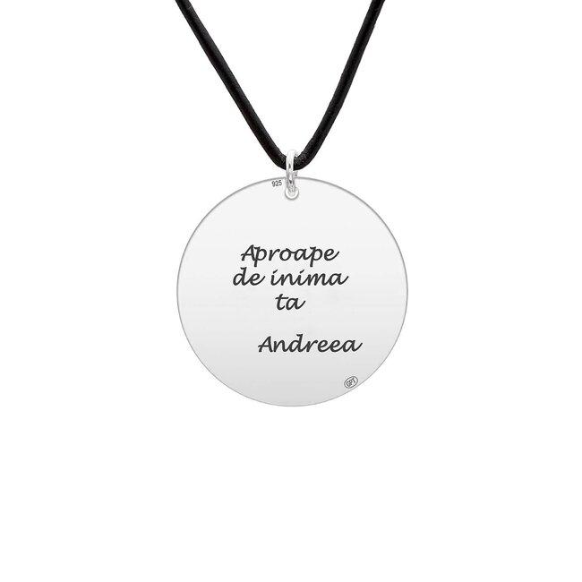 Colier Argint barbat, piele, banut 22 mm, personalizat gravura text