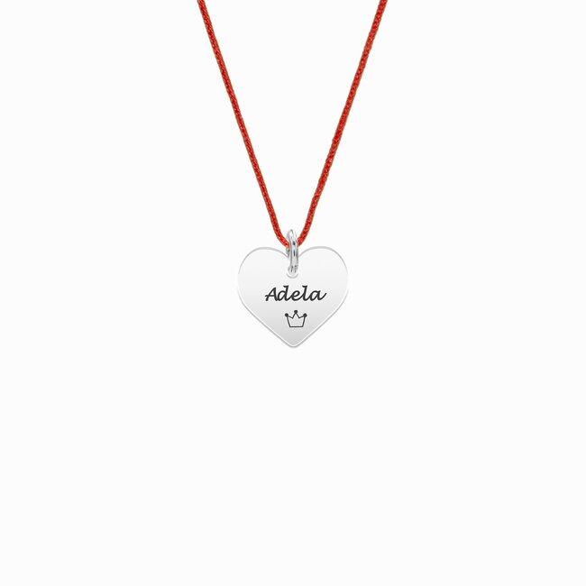 Colier snur rosu inima Aur 14K pentru fetite si adolescente (11 mm)